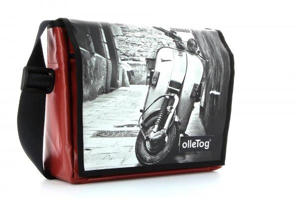 Umhängetasche Bruneck Goller Motorrad, Vespa, retro, Vinage, weis, schwarz