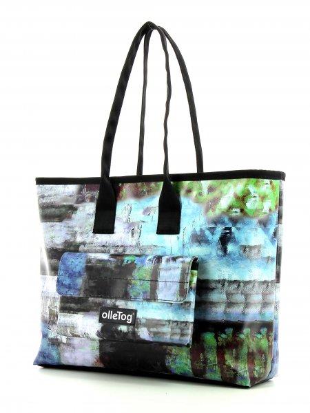 Shopper Deutschnofen Alsak Abstrakt, Pinsel, Streifen, blau, grün