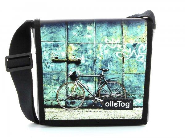 borsa a tracolla Glurns Antlas bicicletta da corsa, retro, vintage, turchese, bianco, nero