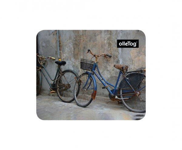 Mousepad Enneberg Erlen Fahrrad, Vintage, grau, blau, retro