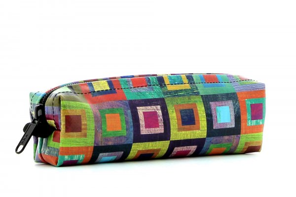 Pencil case Marling Damm colored, checked, geometric, yellow, lilac, blue