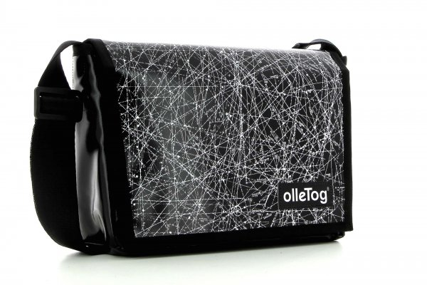 Messenger bag Eppan Montog black, white, lines, fonts, two-colour, starry sky