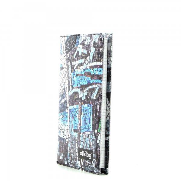Notizheft Tarsch - A5 Schanzen Mosaik, blau, grau, türkis, Wand, Stein