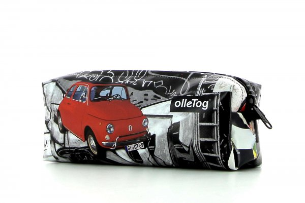 Federmäppchen Rabland Lampi Auto, Vintage, retro, Fiat 500, rot, Oldtimer