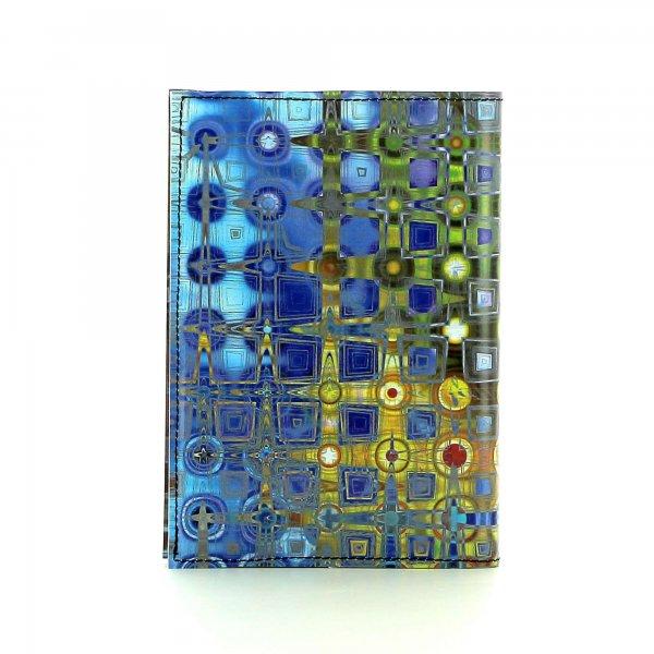 Notizheft Laas - A6 Futter Geometrisch, bunt, abstrakt, blau, gold, grau, gelb