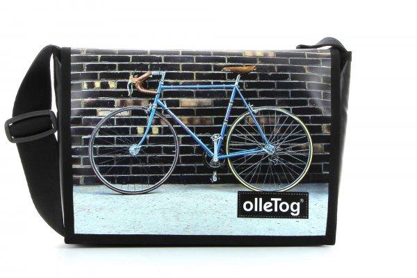 Umhängetasche Eppan Tribulaun Fahrrad, Rennrad, retro, vintage, weiß, braun, blau