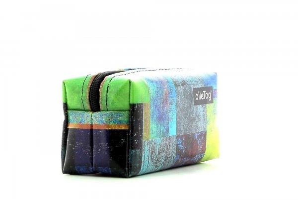 Cosmetic bag Burgstall Brida plaid, colored, yellow, blue, green, geometric
