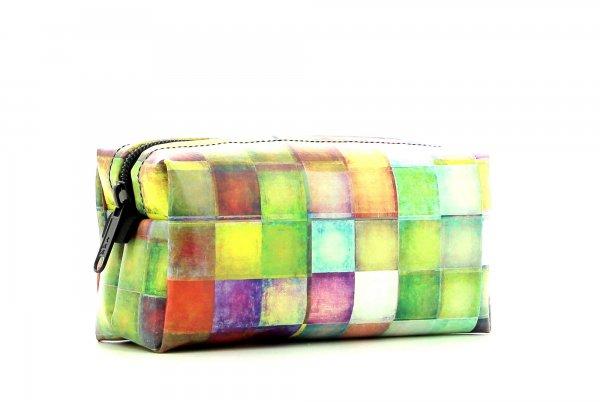 Kosmetiktasche Burgstall Walburg Kariert, bunt, geometrisch, gelb, weis, pink, grün, blau