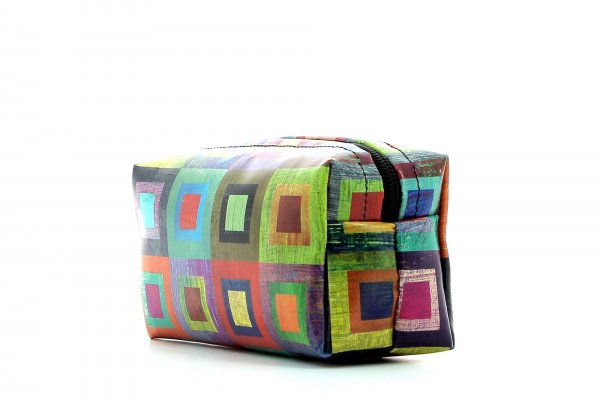Cosmetic bag Burgstall Damm colored, checked, geometric, yellow, lilac, blue