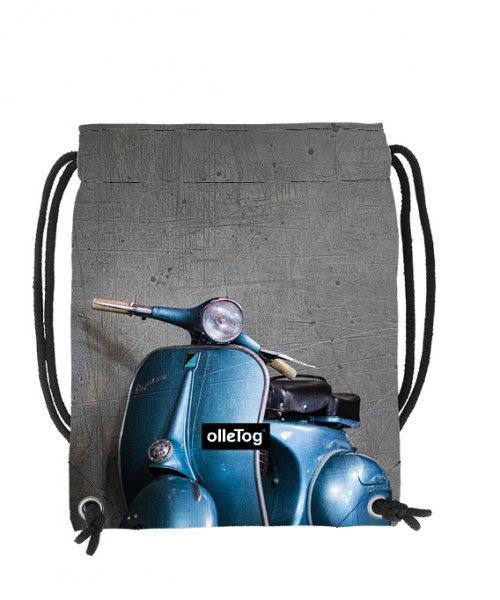 Turnbeutel Corvara Glener Motorrad, Vespa, retro, Vinage, blau, grau
