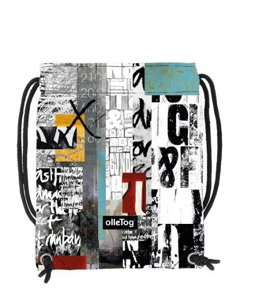 Turnbeutel Corvara Lehrershof Weis, Schriften, schwarz, gelb, grau, türkis