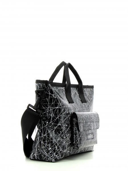 Shopping bag Tschars Montog black, white, lines, fonts, two-colour, starry sky