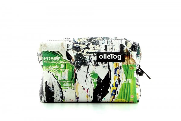 Cosmetic bag Vilpian Spaur photo collage, green, yellow, torn poster