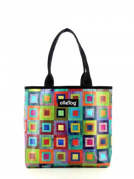 Shopper Kurzras Damm Bunt, kariert, geometrisch, gelb, lila, blau