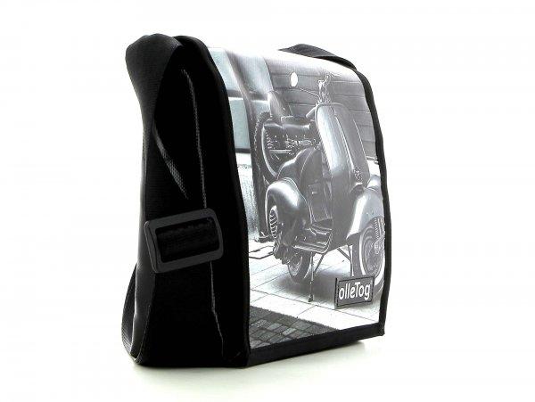 Umhängetasche Glurns Trafoi Motorrad, Vespa, retro, Vintage, weis, schwarz
