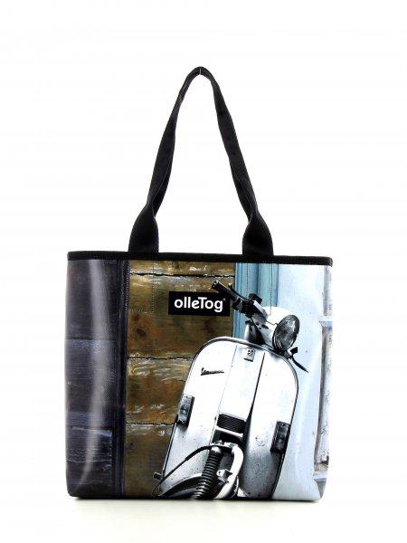 Shopper Kurzras Goller Motorrad, Vespa, retro, Vinage, weis, schwarz