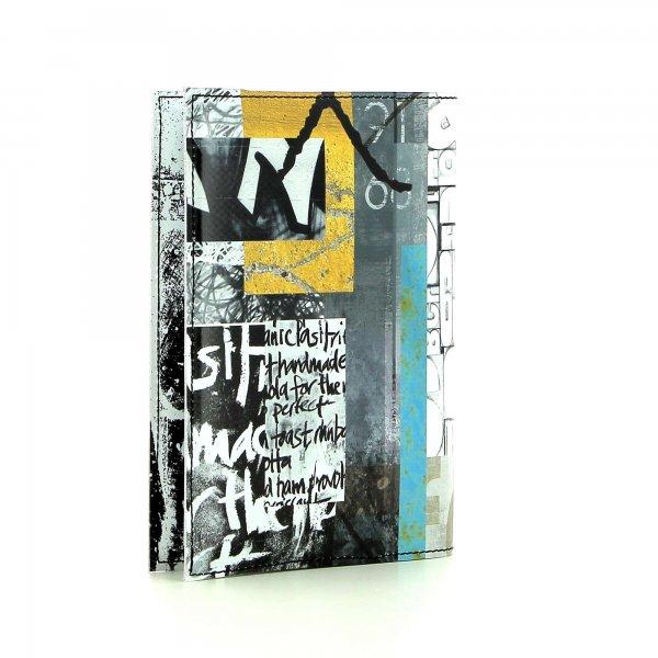 Notizheft Laas - A6 Lehrershof Weis, Schriften, schwarz, gelb, grau, türkis