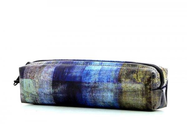 Federmäppchen Marling Kaltermoos Abstrakt, kariert, blau, braun, geometrisch