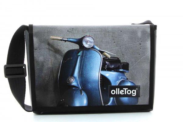Umhängetasche Eppan Glener Motorrad, Vespa, retro, Vinage, blau, grau