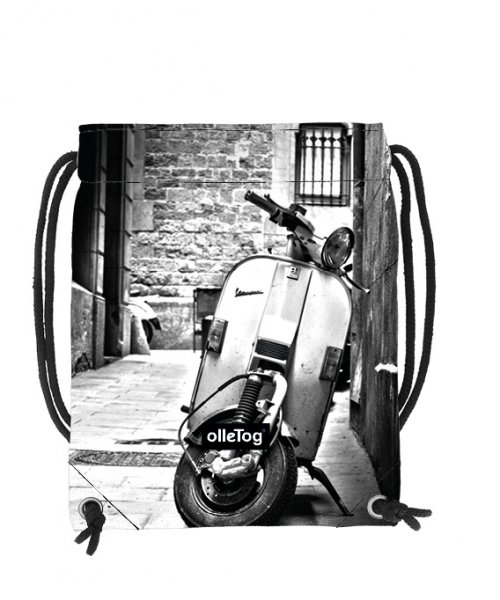Turnbeutel Corvara Goller Motorrad, Vespa, retro, Vinage, weis, schwarz