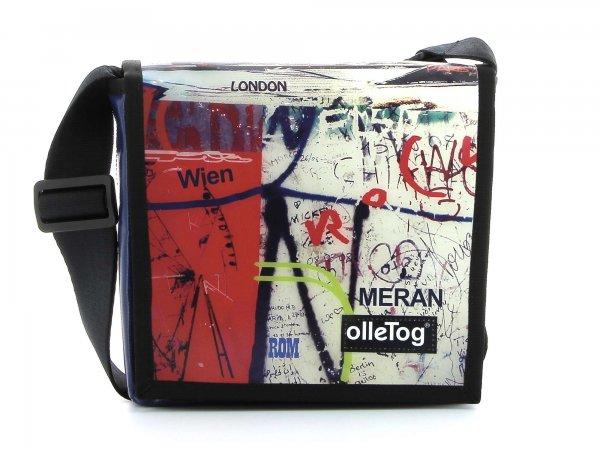 Umhängetasche Glurns Schorn Grafiti, Schriften, abstrakt, rot, weis, blau