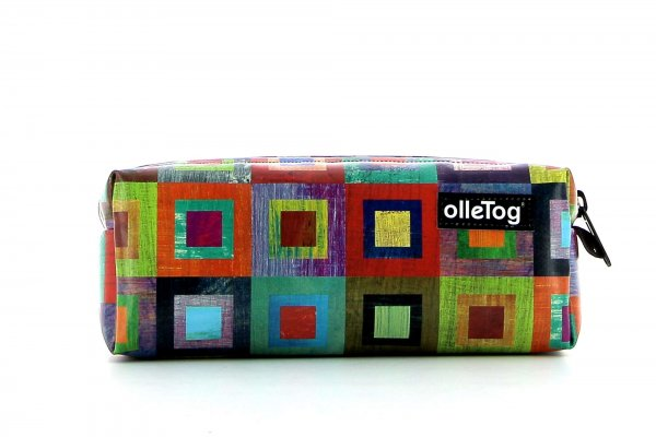 Pencil case Rabland Damm colored, checked, geometric, yellow, lilac, blue